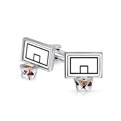 Bling Jewelry Basketball Backboard Creolen Sport Trainer Manschettenknöpfe Für Herren Manschettenknöpfe Scharnier Zurück Edelstahl