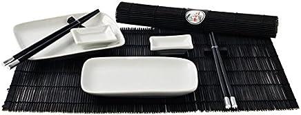 """10 teilig Sushi Ess-Service """"weiß/schwarz"""" 2 Personen Japan Style Geschirr-Set - preisvergleich"""
