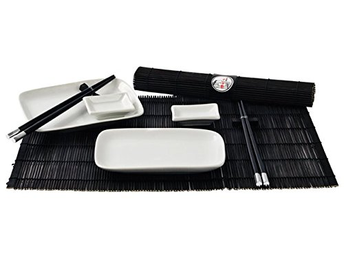 Service à sushi 10 pièces Blanc/noir Pour 2 personnes Style japonais