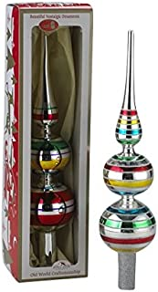 Early Years Glass Multi-color Finial Tree Topper Set OF 2 by Kurt Adler