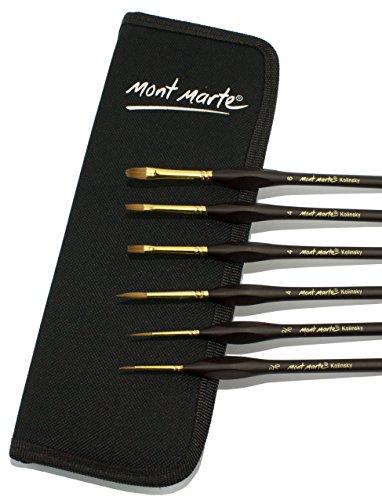 MONT MARTE Kolinsky Pinceles - Juego de 6 piezas de Pinceles en un Estuche negro - Pinceles de primera calidad - Ideal para Acuarela, Óleo, Acrílico - Para Principiantes, Profesionales, Artistas