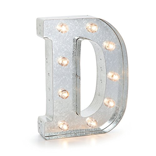 """Darice SS-DAR-5915-705 Silver Metal Marquee Letter – D-9.87"""" Tall, Galvanized Finish"""