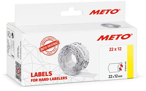Etiquetas Meto para etiquetadoras manuales 9506155 (22 x 12 mm, 1 línea, 6000 unidades, adherencia permanente, para Meto, Contact, Sato, Avery, Tovel, Samark, etc.) 6 rollos, blanco