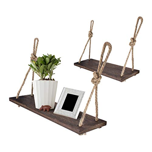 Yankario Rope Hanging Floating Shelves, Rustic Wood Wall Decor Swing Shelf with 4 Hooks, Pack of 2