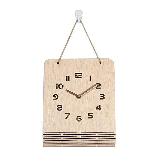 YZHM Reloj de Pared de Madera silencioso sin costear Grandes Hollow out Números Brown Home/Kitchen/Office/School Relojs