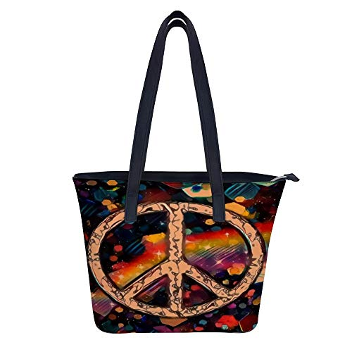 SARA NELL Women's Leather Tote Shoulder Bags Peace Sign Art Design Handbags for Work Travel Business Beach Shopping School