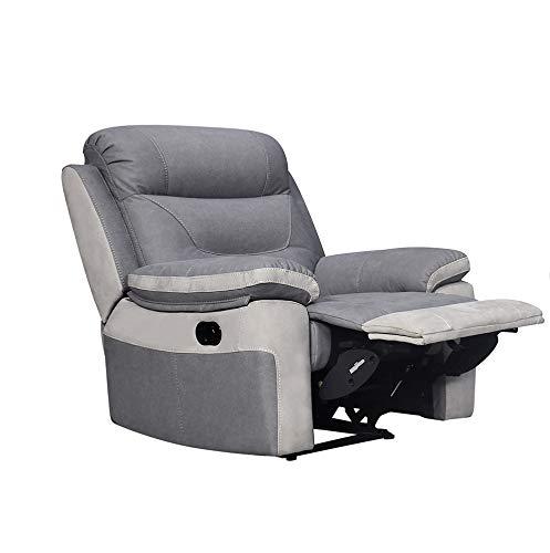 Meubletmoi - Sillón relaxación manual, color gris claro y gris oscuro