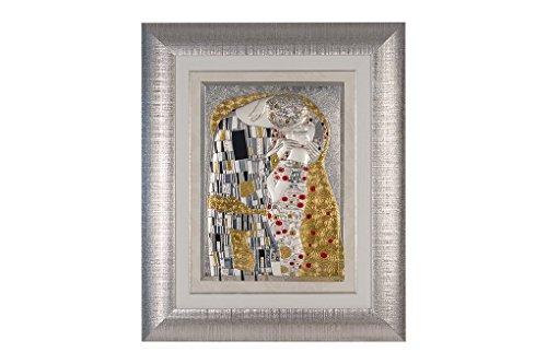 CVC- Quadro da parete, cornice argentata, dettaglio righe. Riproduzione Bacio Klimt in bilaminato argento. Dimensione 51x61 cm. Made in Italy.