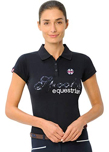 SPOOKS Poloshirt Damen Mädchen Kinder, Polo Shirt tailliert Sommer Tshirt Hemd Sport - Roxie Sequin Polo Navy m