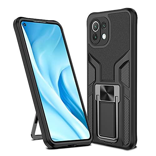 Funda Xiaomi Mi 11 Lite, Armadura de Servicio Pesado Funda Protectora Resistente 2 en 1 Que Absorbe los Golpes [Funciona con Soporte magnético para automóvil] para Xiaomi Mi 11 Lite,Negro