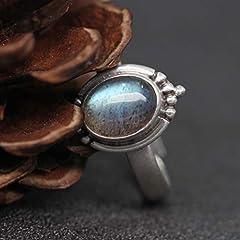 Luna Azure Sterling Silver Moonstone Engraved Vintage Adjustable Ring (JJ01-JZ0013A) #2