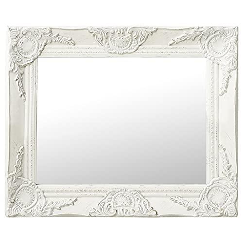 vidaXL Espejo de Pared Estilo Barroco Rectangular Colgante Armario Baño Antiguo Retro Consumo de Maquillaje Decoración Hogar Blanco 50x40 cm