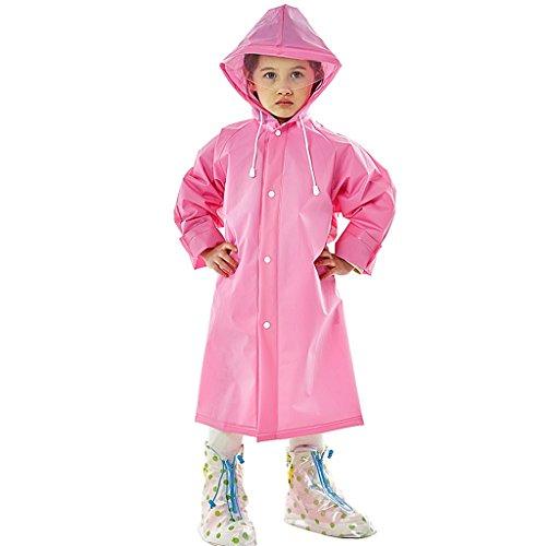 Vestes anti-pluie QFF Child Boy Girl Raincoat Long Section Étudiant à l'extérieur À Pied Aller à l'école Thicker Waterproof Transparent Big Hat Poncho (Couleur : Rose, Taille : M)
