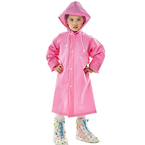 Vestes anti-pluie QFF Child Boy Girl Raincoat Long Section Étudiant à l'extérieur À Pied Aller à l'école Thicker Waterproof Transparent Big Hat Poncho (Couleur : Rose, Taille : M)