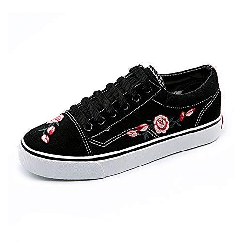 Dames schoenen van geborduurd canvas, ademende lente-bijpassende lage casual schoenen, espadrilles met platte wandelschoenen voor sneakers,White,36 EU