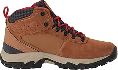Columbia Men's Newton Ridge Plus II Suede Waterproof Boot, Breathable High-Traction Grip, elk, Mountain red, 9 Wide US