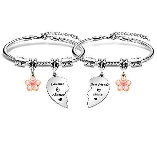 2Pcs Cousin Bracelets Set Family Jewellery Adjustable Women Bracelets Heart...