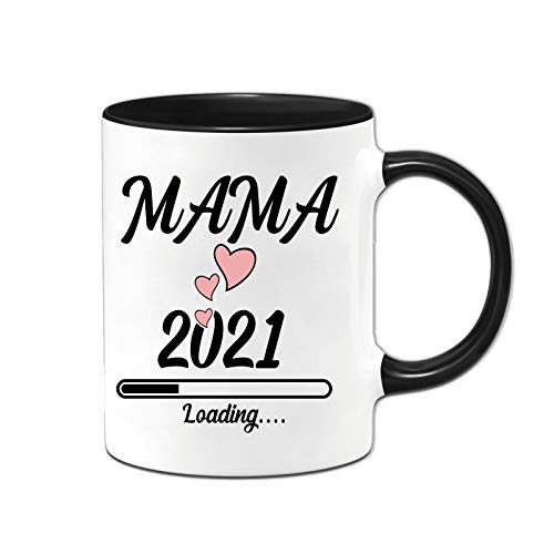 Yoner Mama is Loading 2021 - Taza de café para mamá embarazada, idea de regalo con divertido texto impreso para novia, hermana o madre, aprox. 330 ml, estampado por ambos lados