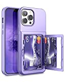 WeLoveCase for iPhone 13 Pro Max Wallet Case with Credit Card Holder & Hidden Mirror, Three Layer Shockproof Heavy Duty Protection Cover Protective Case for iPhone 13 Pro Max - 6.7inch Light Purple