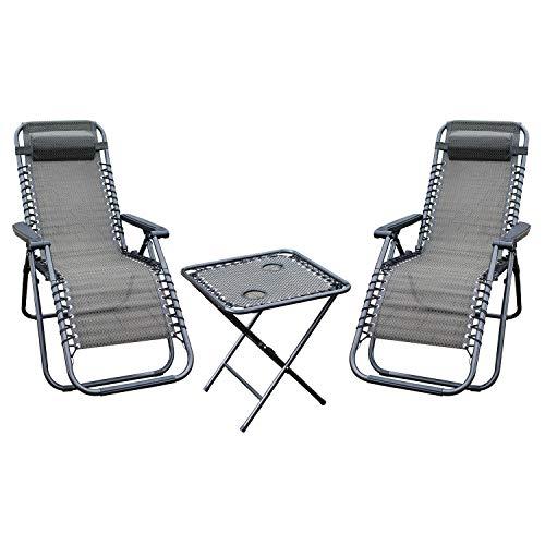 FineHome 3-delige premium camping set tuinstoel - relaxstoel ligstoel incl. hoofdkussen verstelbaar + tafel inklapbaar drankhouder