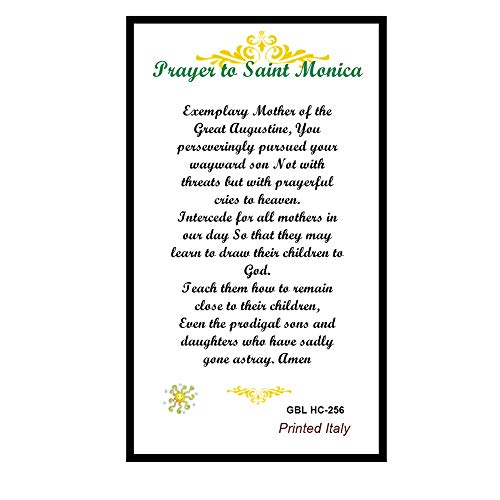 St Saint Monica Patron of Wives and Abused Women Prayer Card Blessed By His Holiness