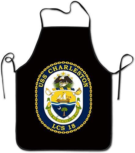 Not Applicable Unisex Küche Schürzen Frauen Männer Kellnerin Chef USS Charleston LCS-18 Combat Ship Chef Schürze Kochschürze Barbecue Schürzen