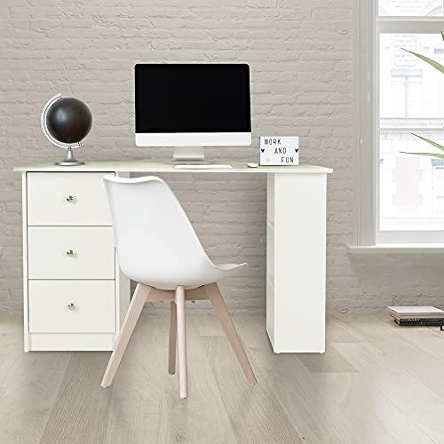 ML-Design Escritorio con 3 Cajones y 3 Estantes de Almacenamiento Ideales para Guardado 120x49x72 cm Color Blanco Mueble de Ordenador PC Pórtatil Mueble Mesa de Trabajo Estudio Hogar u Oficina