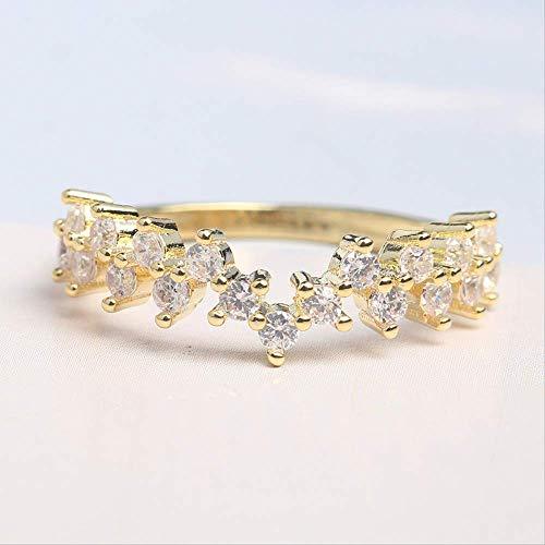 IWINO Mode Goud Kleur Strass Ring Dunne Sieraden Dames Bruiloft Verjaardagscadeau Voor Dames Maat 6-10