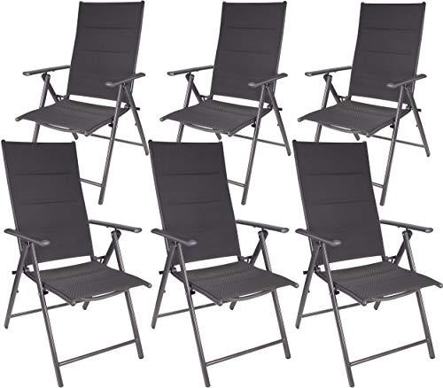 Brubaker 6er Set Gartenstühle Riva - Faltstühle klappbar- 7-Fach verstellbare Rückenlehnen - wetterfeste Klappstühle - Grau