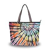 Mnsruu - Bolso de mano con cremallera, grande para mujer, bolsa de la compra casual, L (colorido teñido de lazo), color, talla Large