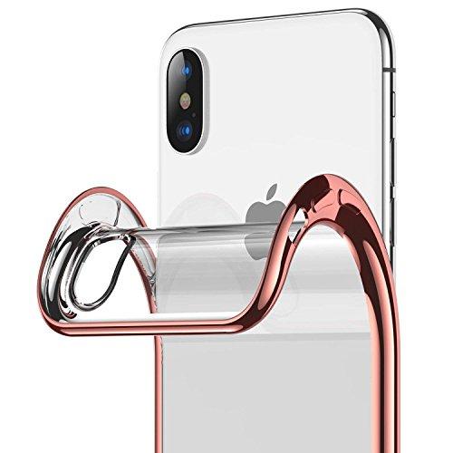 ORANGA iPhone Xs ケース 透明 TPU iPhoneX ケース クリア 耐摩擦 耐衝撃 指紋防止 ワイヤレス充電対応 超薄型 カメラ保護 アイフォーンXs アイフォンXS (iPhone X, ローズゴールド)