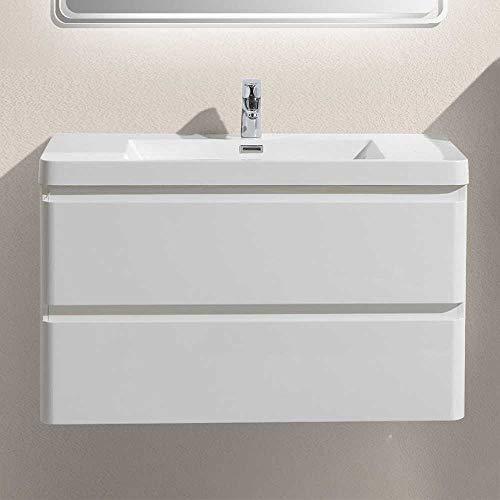 Pharao24 Waschtisch in Weiß Einlass-Waschbecken Breite 90 cm Tiefe 48 cm