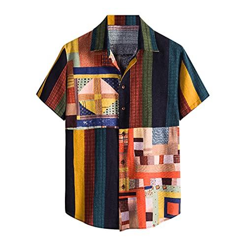 YUTING Camisa de manga corta para hombre, de verano, informal, estampada, de algodón y lino, con botones Multicolor_3 M