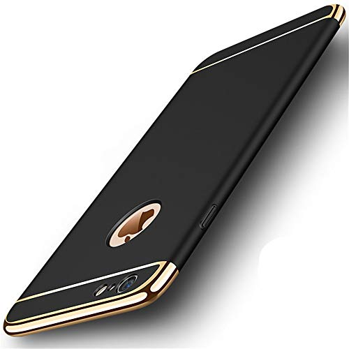 iPhone 6s Plus Case,Heyqie 3 in 1 Ultra-thin 360 Full Body Anti-Scratch Shockproof Hard PC Non-Slip Skin Smooth Back Cover Case with Electroplate Bumper For Apple iPhone 6 plus / 6s Plus 5.5' - Black
