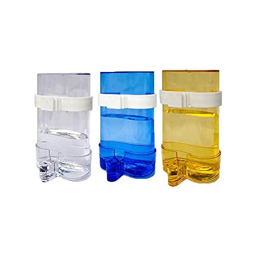 Kaimeilai 3 stücke Futterspender Vogel Wasserspender, Automatischer Wasserspender, Vögel Automatischer Wasserspender, Clip Futternapf Trinkflaschen für Vögel Wellensittiche, Nymphensittiche