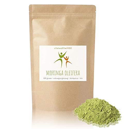 """Bio Moringa Oleifera Wildwuchs Blattpulver - 100 g - """"Wunderbaum"""" - in geprüfter Qualität - feinst gemahlen - Superfood - 100% BIO & rein - glutenfrei, laktosefrei - OHNE Hilfs- u. Zusatzstoffe"""