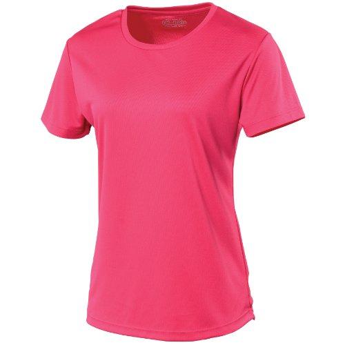 Just Cool Damen Sport T-Shirt unifarben (Large) (Dunkles Pink) L,Dunkles Pink