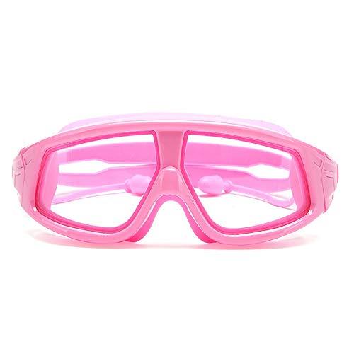 Accesorios de deportes al aire libre Gafas protectoras contra la radiación ultravioleta HD para jóvenes con clip de nariz y tapones para los oídos Niños Chicas Gafas de natación con marco grande