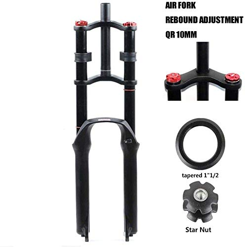 ZHTY Bike Suspension Fork 26in 27.5in 29' for Mountain Bike Air Double Shoulder Downhill Rappelling Shock Absorber Travel 130mm Damping Disc Brake QR DH AM FR
