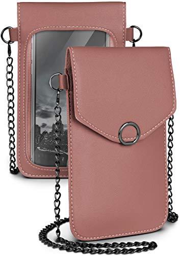 moex Handytasche zum Umhängen für alle Lenovo Handys - Kleine Handtasche Damen mit separatem Handyfach & Sichtfenster - Crossbody Tasche, Altrosa