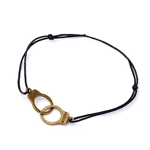 Idin Fashion Anklet - Black cotton wax cord adjustable anklet with handcuffs (Length approx. 37 cm)