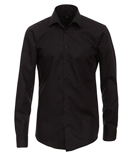 Venti Herren Hemd (extra Langer Arm 72cm) Slim Fit/Bügelfrei / 100% Baumwolle schwarz 43