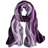 WZTP pañuelo de seda Mujer 100% seda Mantón Bufanda Moda Chals Señoras Elegante Estolas Fular 70,8'x 27,5'' (Gradiente de color morado oscuro)