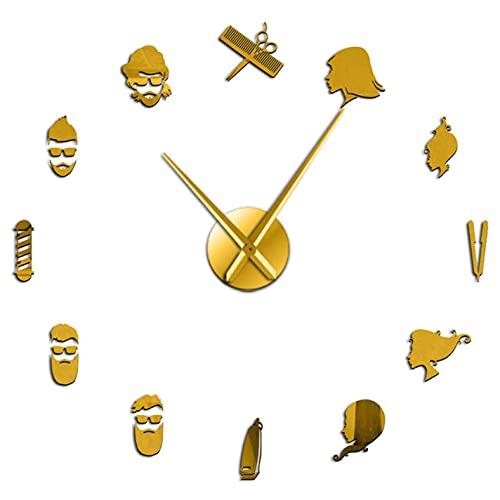 DIY Relojes de Pared Barber Shop 3D DIY Reloj de Pared silencioso Decoración de Pared Reloj Gigante sin Marco Reloj con Efecto de Espejo Sticker-27_Inch