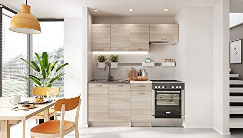 Muebles de Cocina Completa 180 cms Color Madera, encimera y zocalos incluidos, ref-26a NO Incluye: Fregadero ni Grifo.