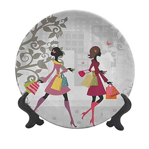 Plato decorativo de cerámica de 15,24 cm, diseño retro, para mujer, de compras, calles, belleza, mariposa, vida urbana