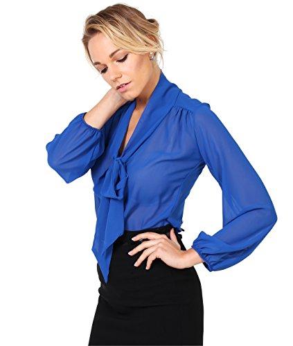 KRISP Blusa Mujer Cuello Lazo Elegante, Azul Eléctrico (9522), 46, 9522-ROY-18