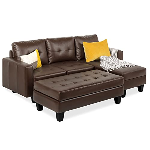 Best Choice Products Tufted Faux Leather 3-Seat L-Shape Sectional Sofa Couch Set w/Chaise Lounge, Ottoman Coffee Table Bench, Brown