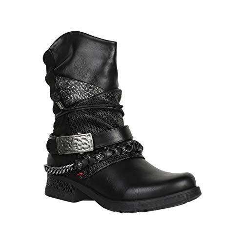 Elara Botines Biker para Mujer con Remache Biker Boots Chunkyrayan 7681 Black-37