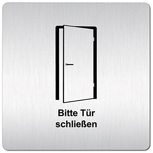 Kinekt3d Leitsysteme XXL Schild - Türschild 125 x 125 mm Hinweisschild Bitte Tür schließen aus 1,5mm starkem Aluminium mit veredelter Oberfläche